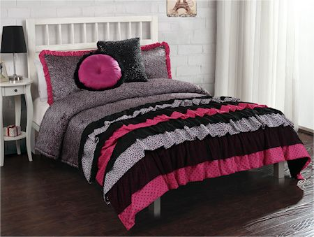 French Ruffle Hot Pink Black Animal Print Bedding Twin Full Queen Comforter Set