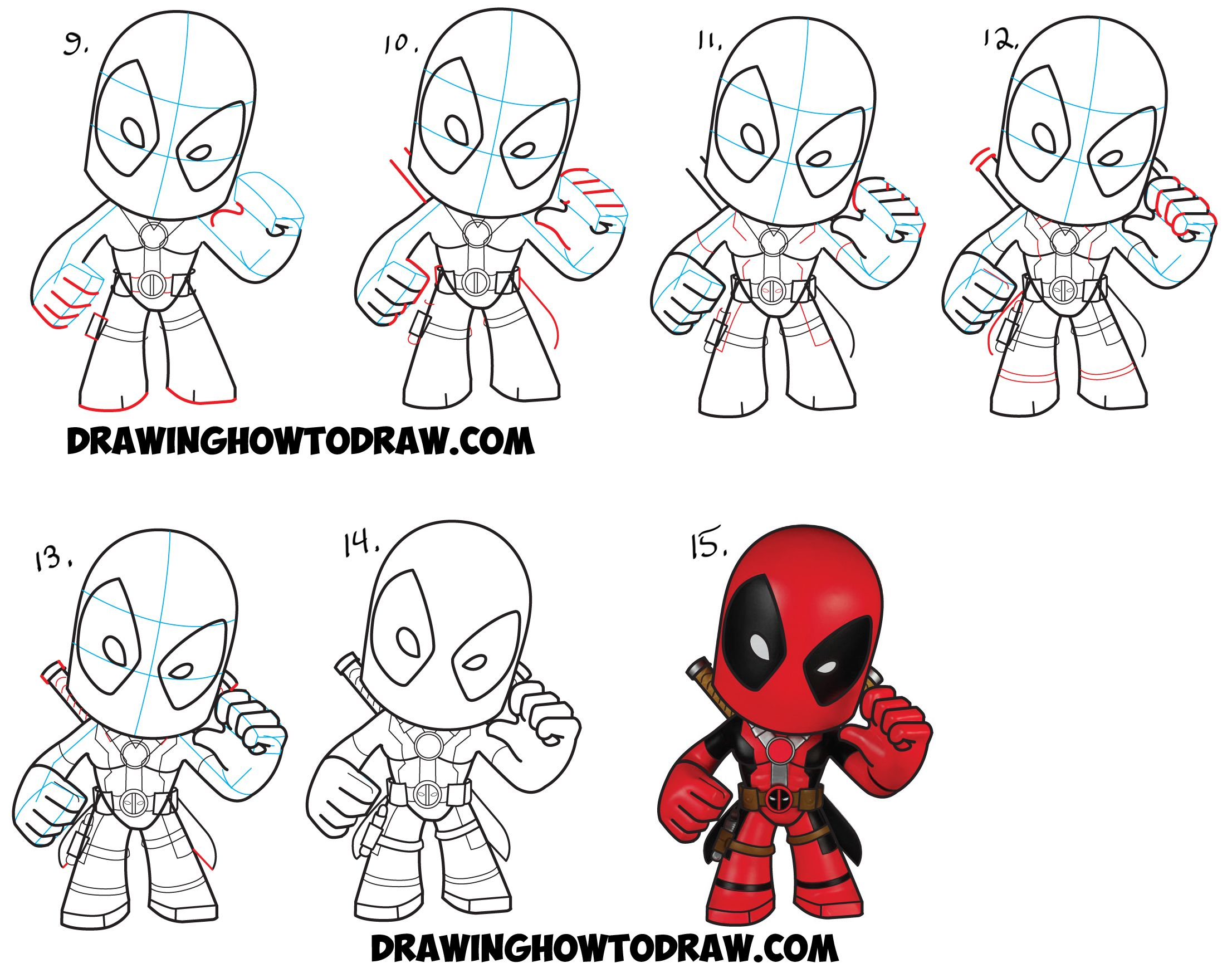 Learn How To Draw Chibi Deadpool Simple Steps Drawing