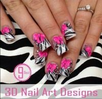 Acrylic Nails Hot Pink Zebra Design, Bows, Rhinestone Tips