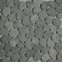 Dark Grey Sliced Stone Pebble Mosaic Tile wall floor ...