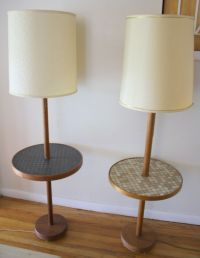 Mid Century Modern Floor Lamps with Tile Top Tables ...