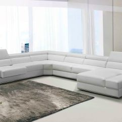 Divani Casa 5106 Modern White Italian Leather Sectional Sofa Sleeper Couch Pella ...