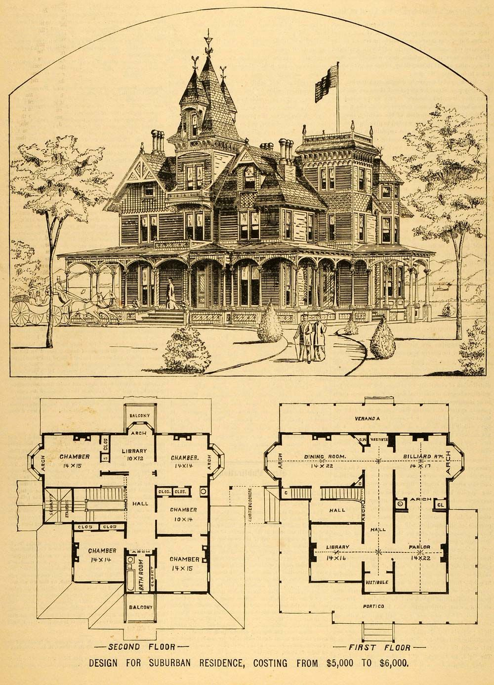 1879 Print Victorian House Architectural Design Floor