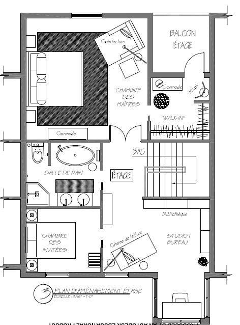 Plan général d'aménagement de l'étage d'un duplex de style