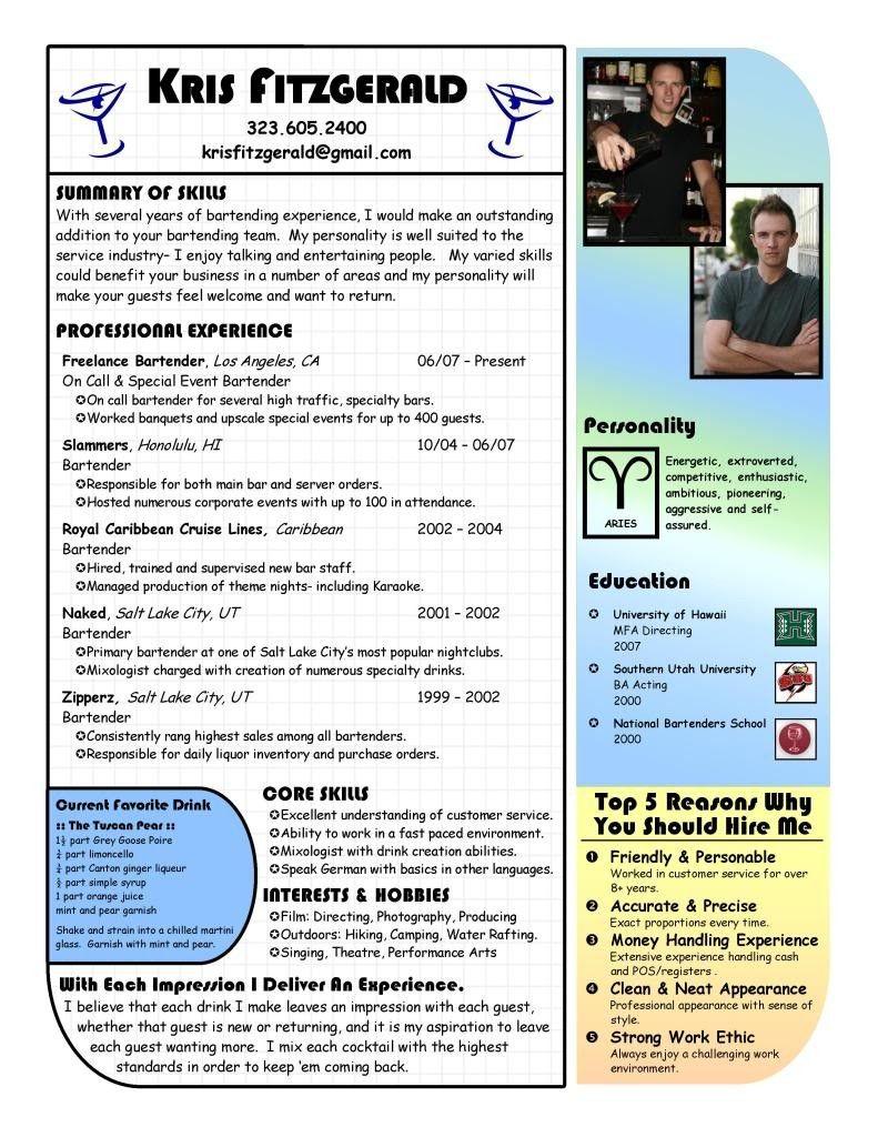 Bartender Resume Example Bartending Resume Work It Pinterest