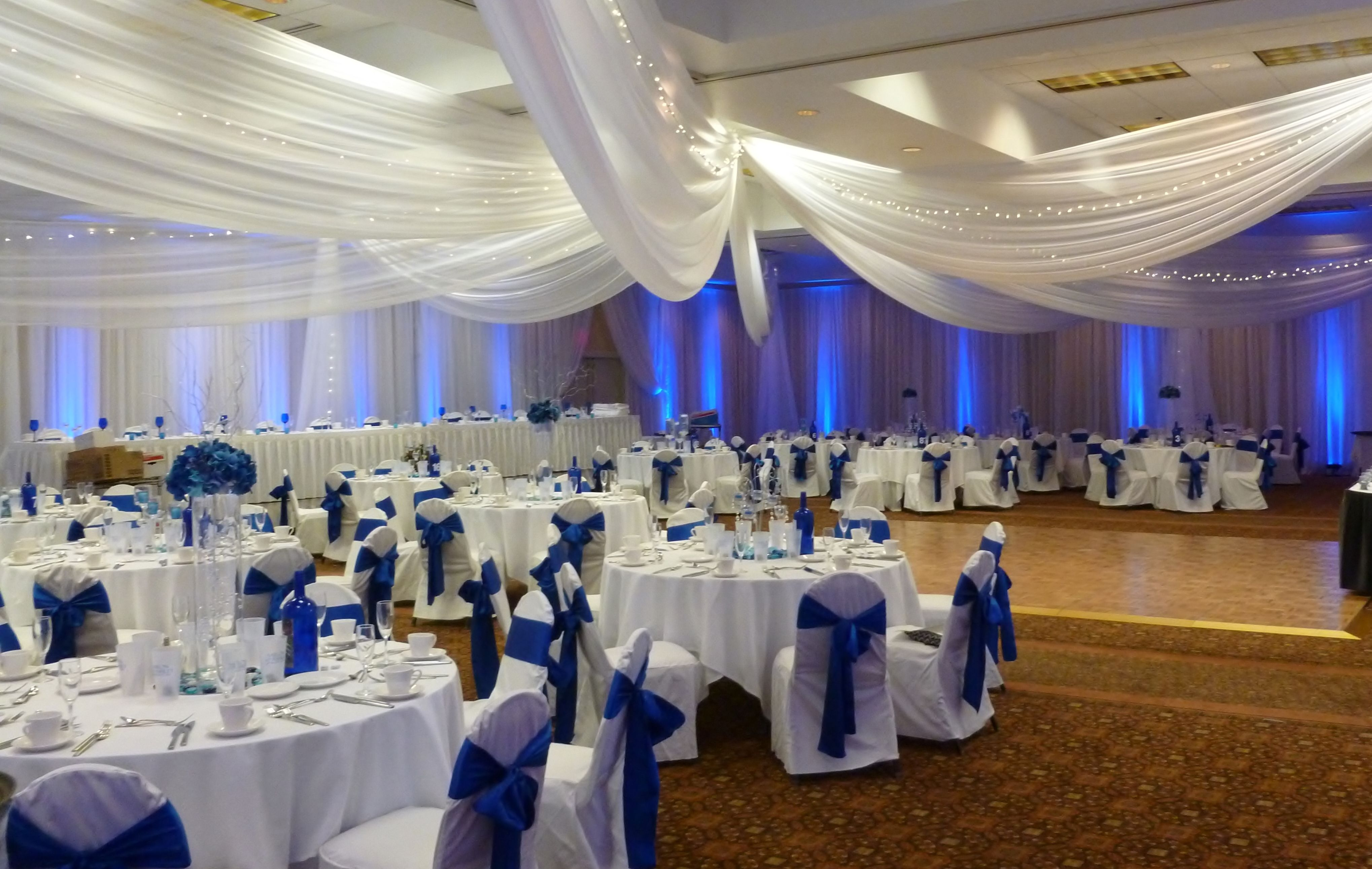 white chair covers with ivory sash cr plastics adirondack chairs review ceiling drape royal blue