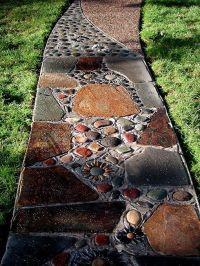 River stone walkway | In My Yard | Pinterest | Stone ...