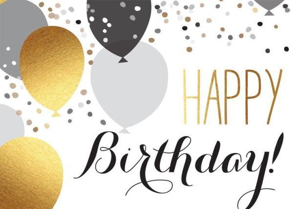 happy birthday elegant silver gold