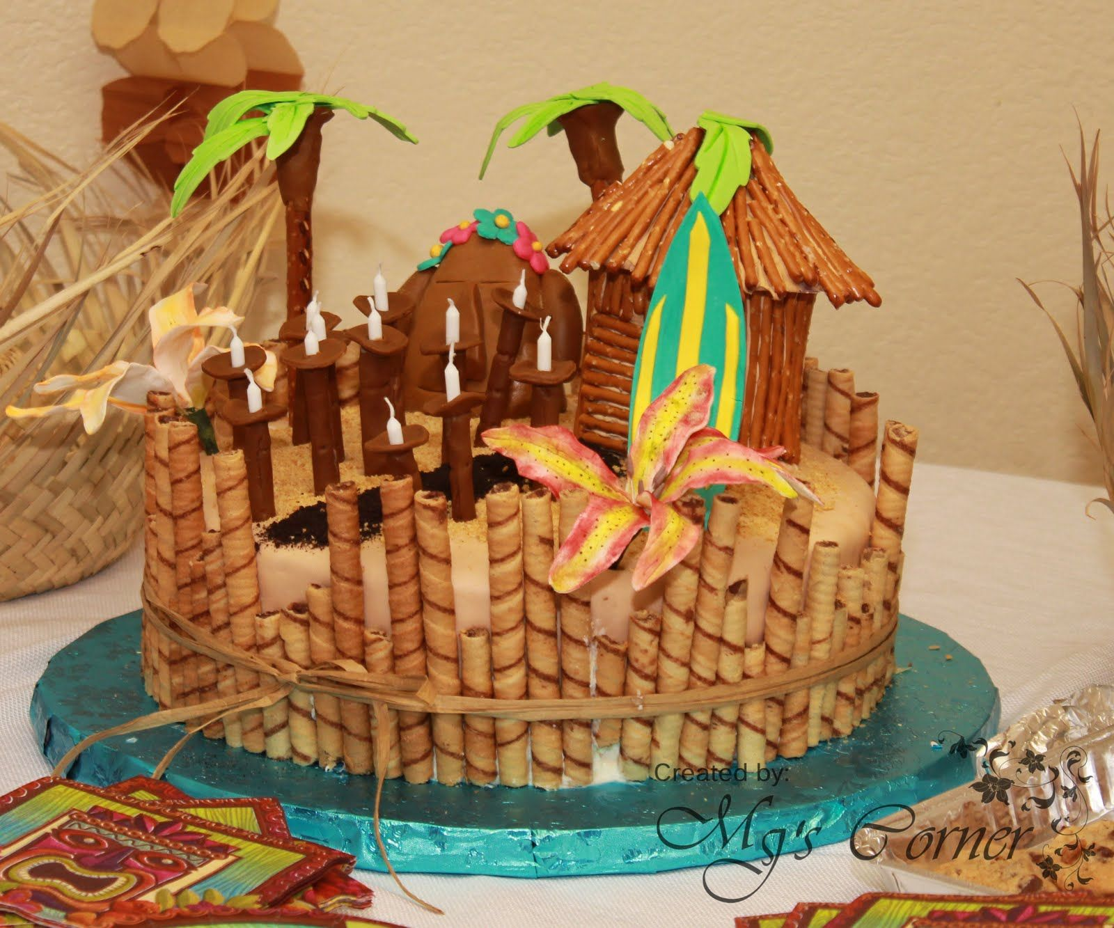 Tiki Cake For Hawaii Theme Luau
