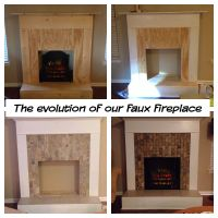 Faux Fireplace: wood, trim, tile, and an electric log ...