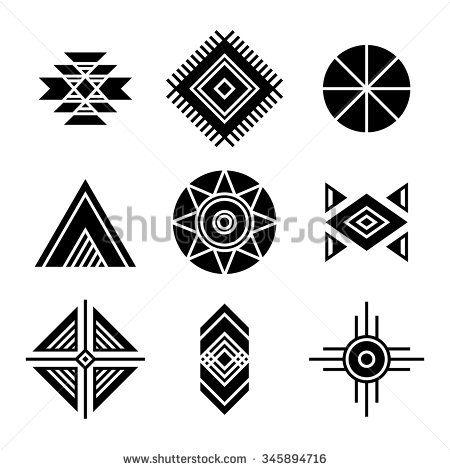 Native American Indians Tribal Symbols Set. Geometric