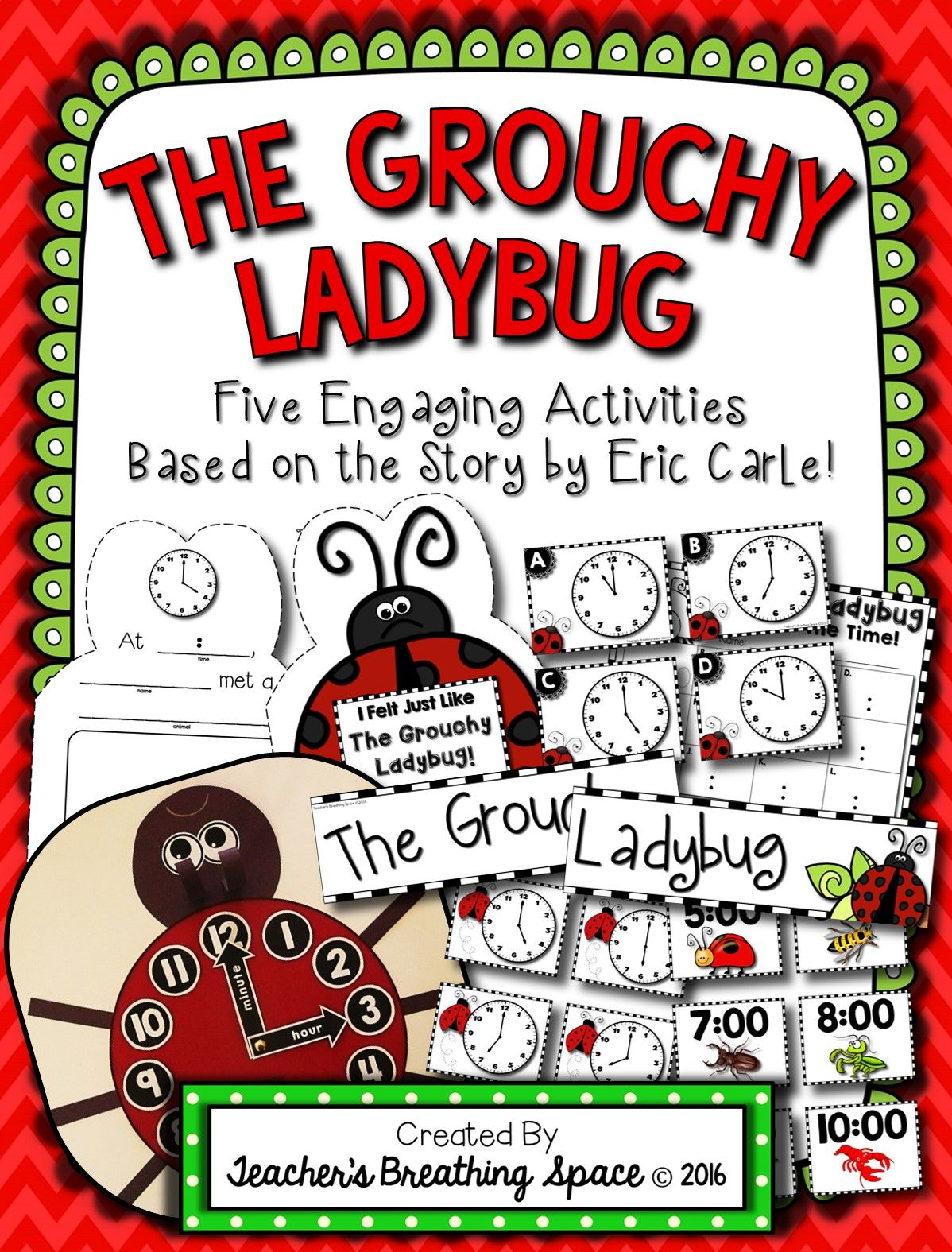 Grouchy Ladybug Clock Craftivity Bingo Write The Room