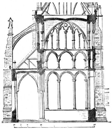 Transverse Section of the Nave of Salisbury Cathedral. (A