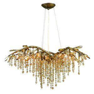 Golden Lighting 9903 6 Mg Chandelier With Amber Tinted Leaded Crystal Shades Mystic Gold