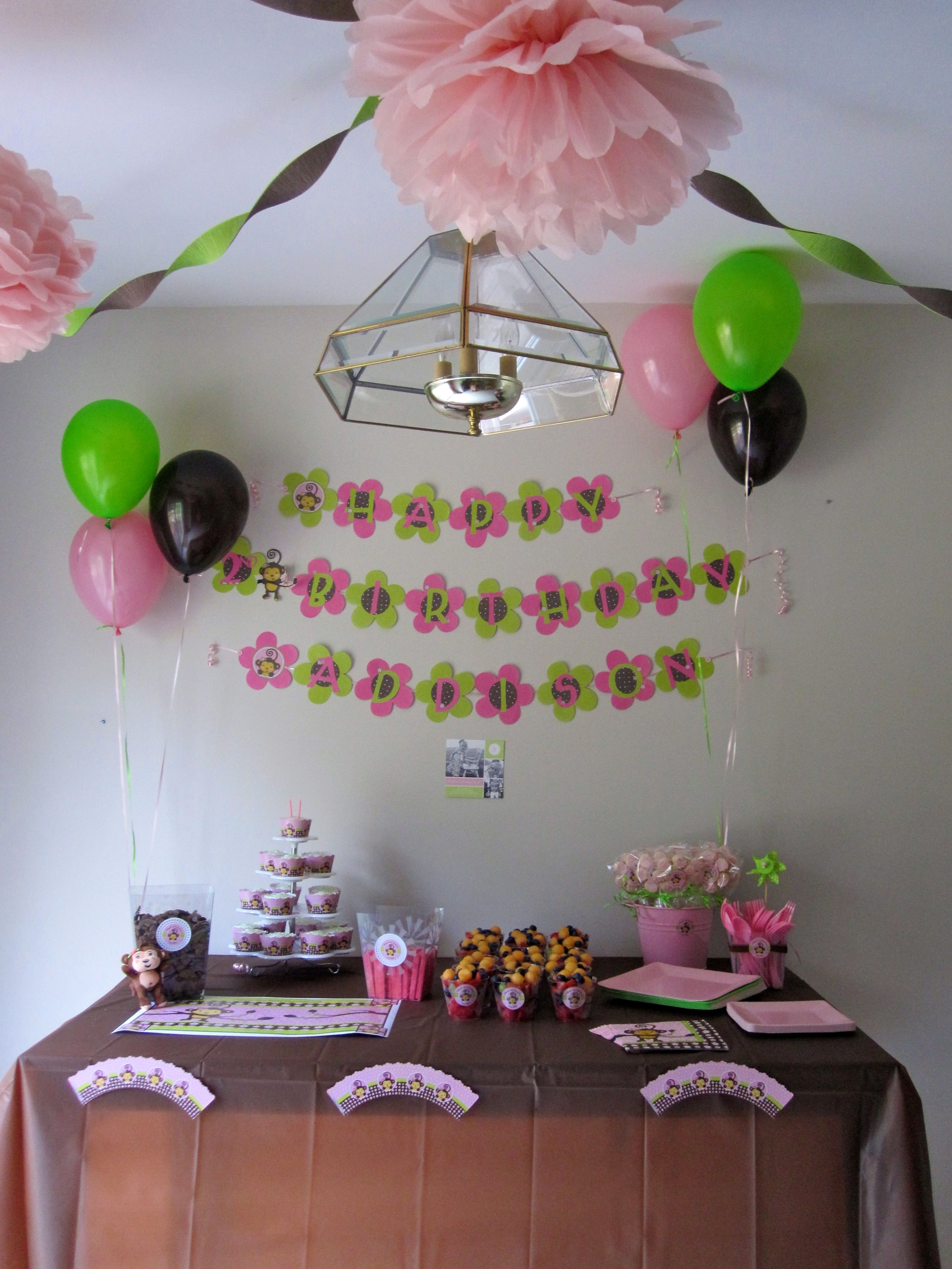 Monkey girl birthday party ideas also for the home pinterest rh 1st Birthday Decoration Ideas For Girls At Home - valoblogi.com
