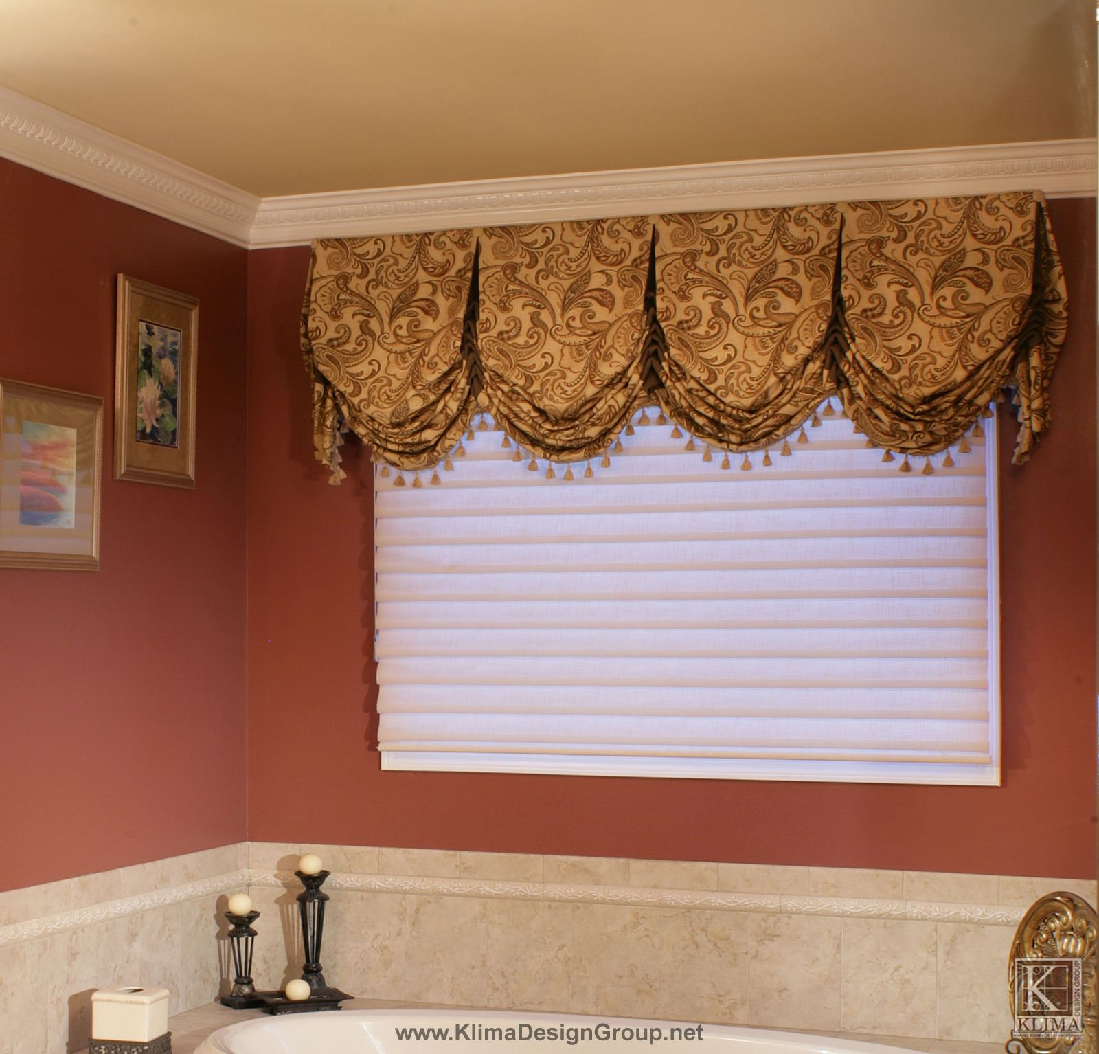 Custom Bathroom Valance With Contrast Trim And Buttons Valance