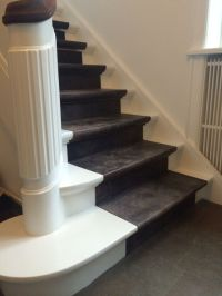 Nice staircase in Leather. Water Buffalo Leather tiles in ...
