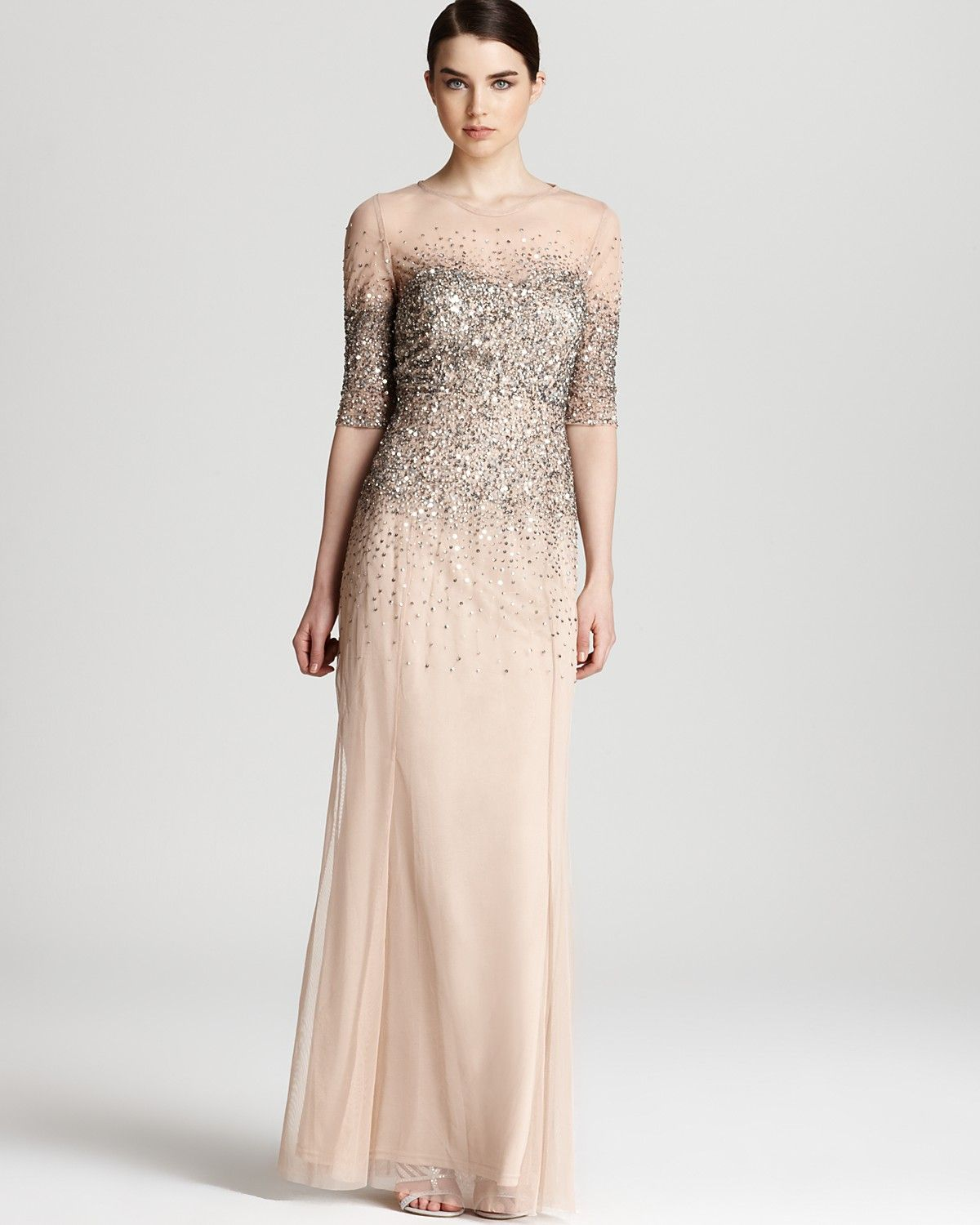 Adrianna Papell Sleeveless Lace Dress In Champagne