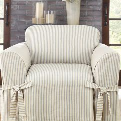 Striped Chair Covers Dining Rooms Your Zone Flip Mint Sure Fit Ticking Stripe Slipcover