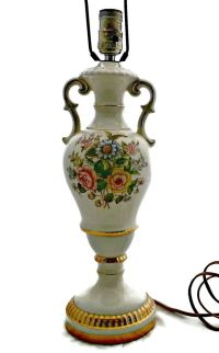 Vintage Urn Lamp Double Handle Floral Gold Trim This tall