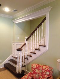 traditional stairs with beautiful partial cased opening ...