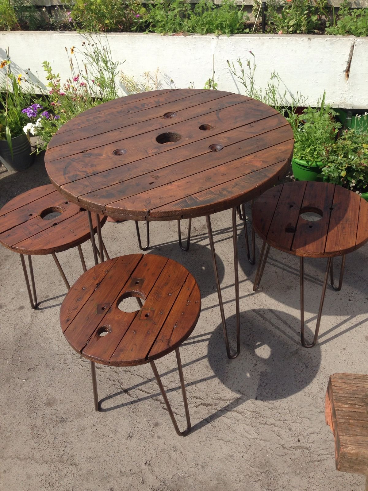 Garden Table And Chairs Wooden Garden Furniture Set Table And Stools Upcycled