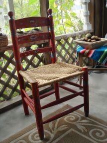 Antique Folk Art Hand Carved Red Mexican Chair