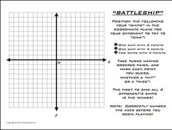 Battleship Plotting Points Coordinate Plane Math