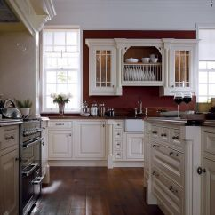 White Kitchen Wall Cabinets Brick Floor And Moldings Contrast Perfectly With