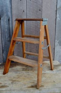 Step Ladder Vintage Small Wooden Folding Step Stool ...