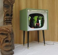 vintage 50's upcycled repurposed TV Television bar cabinet ...
