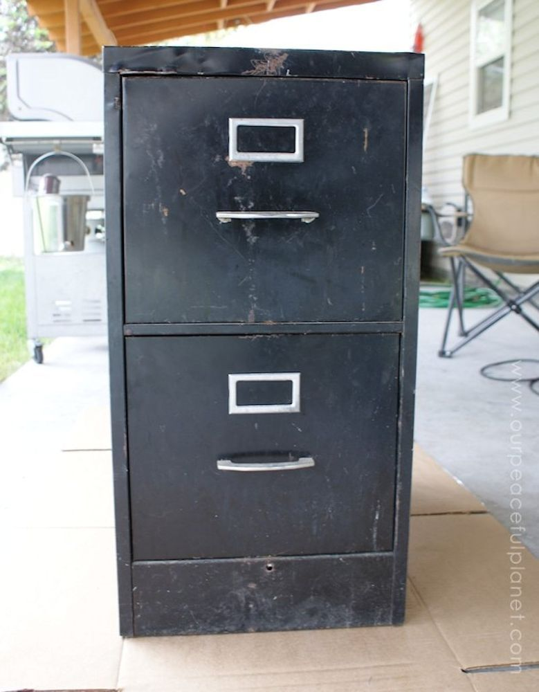 Turn an old file cabinet into the prettiest accessory for