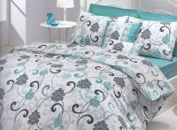 Modern Bedroom Interior with Teal White Grey Swirl ...