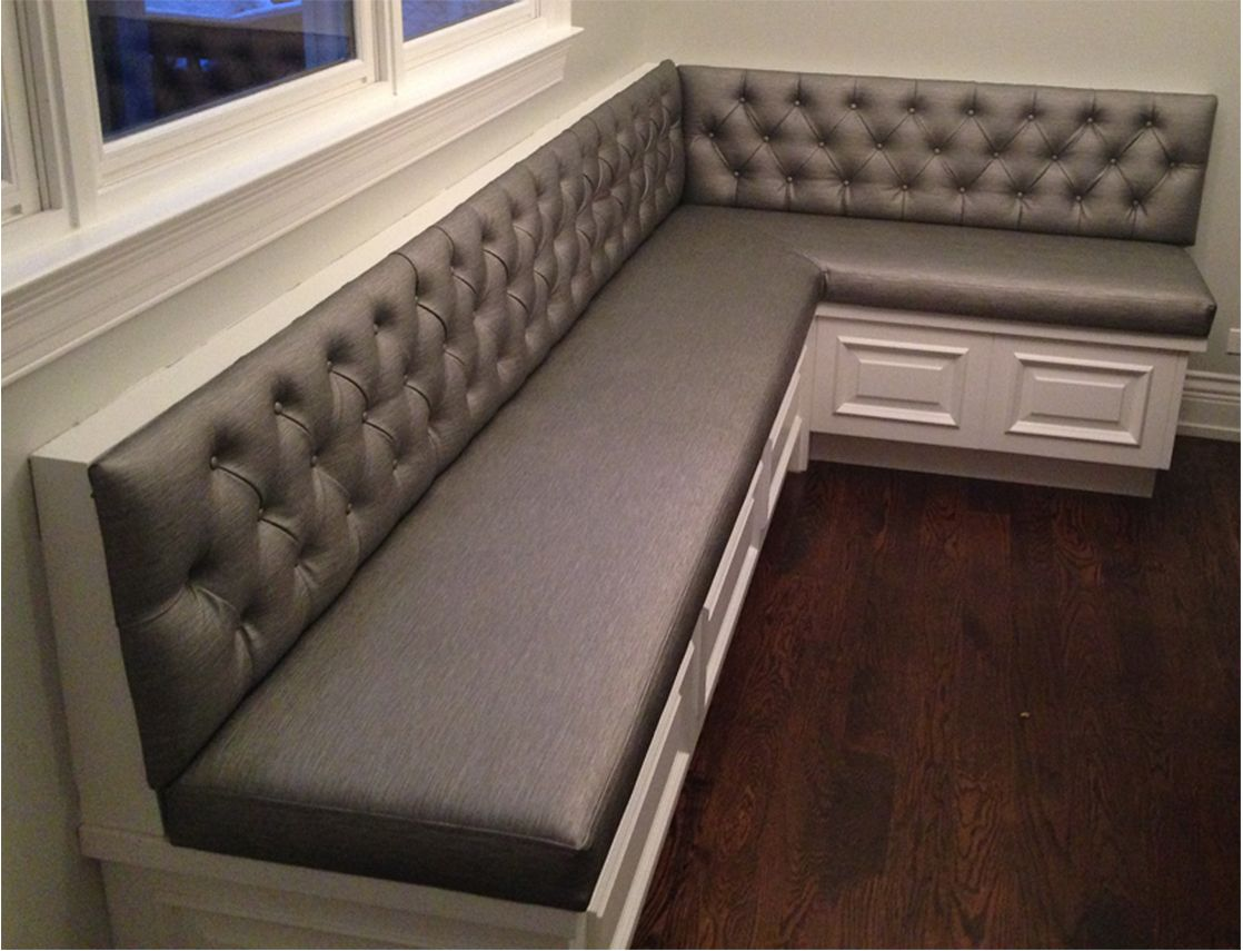 kitchen bench seating with storage how to build a bar transitional diamond tufted sewn custom banquette