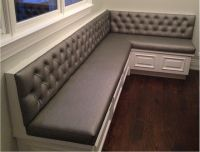 Transitional diamond tufted sewn custom kitchen banquette ...