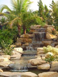 Backyard waterfalls, pond, and stream in Parkland, Florida ...
