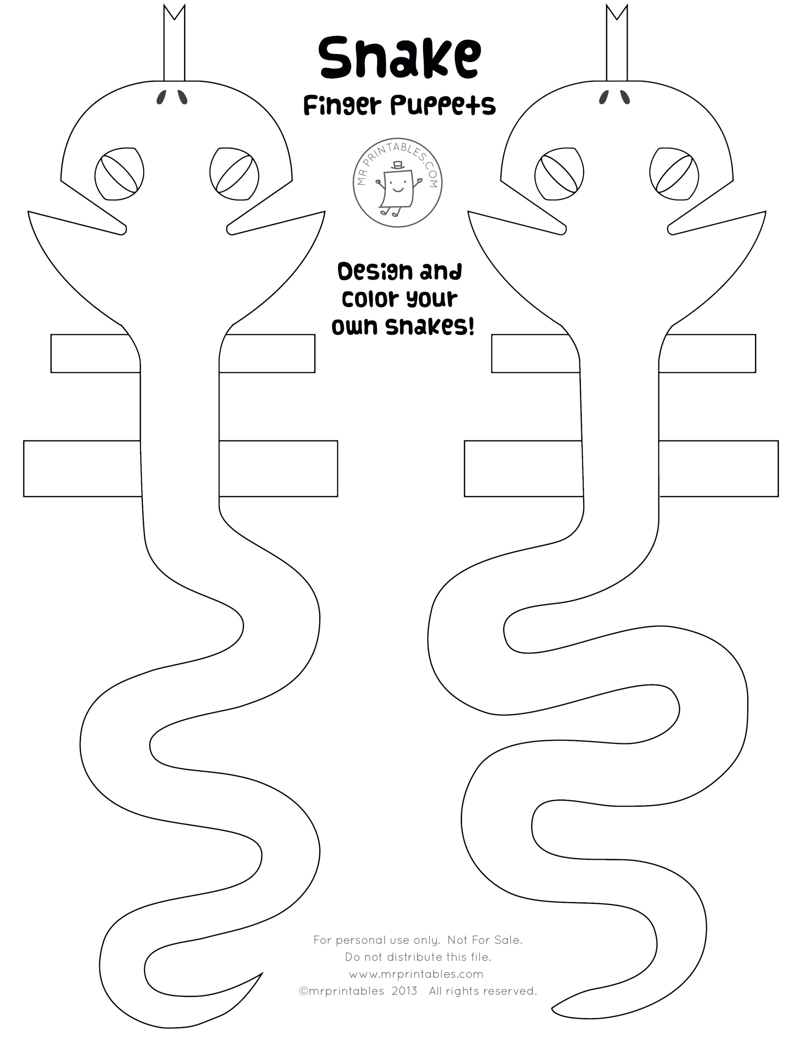 Printable Snake Finger Puppets