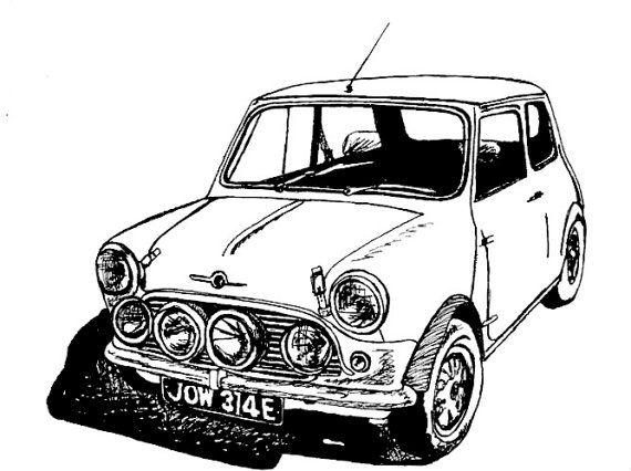 Classic MINI Cooper Sports Car / Car Drawing / Wall Decor