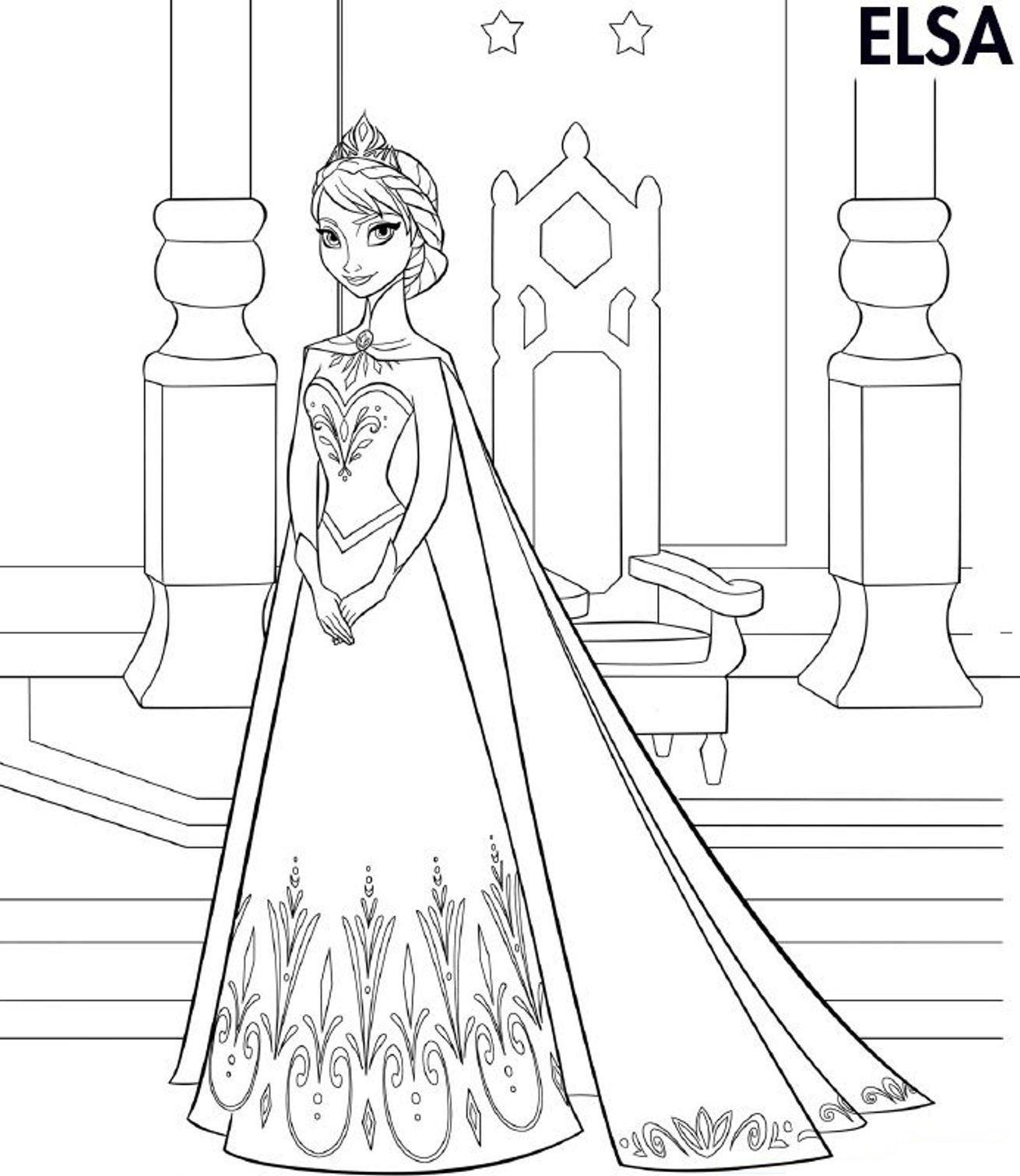 Elsa Frozen Coloring Page Printable