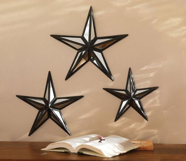 Mirrored Barn Star Wall Decor Trio And