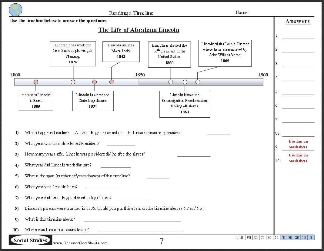 Free Timeline Worksheets Check Out These 10 Free Ccss