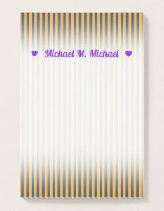 Custom name blue  orange stripes lines pattern post it notes diy cyo also rh pinterest