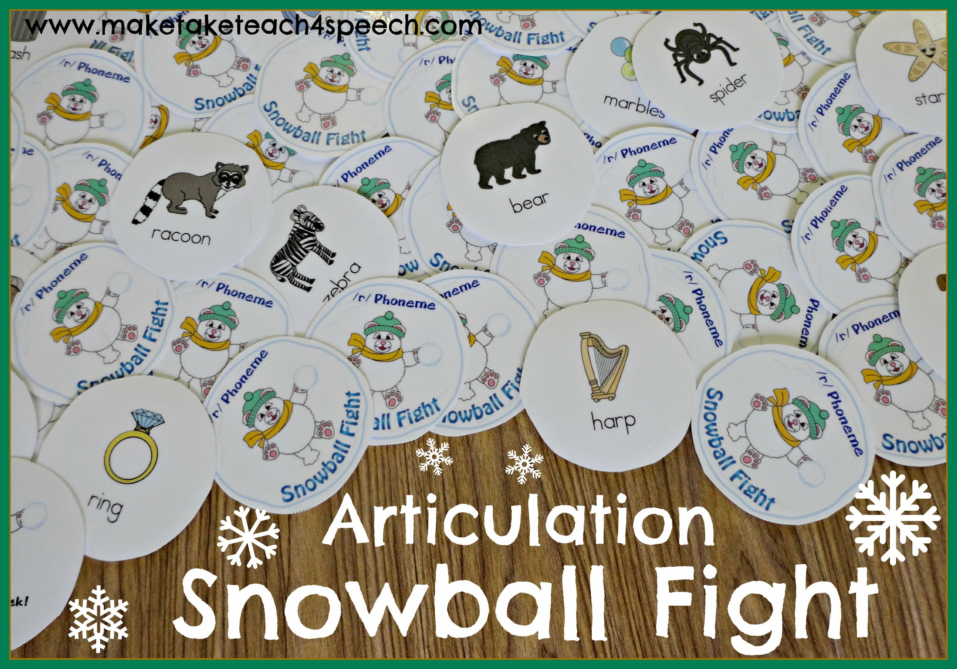 Snowball Fight Activity For Articulation Games For The S R And L Phonemes Fun Winter