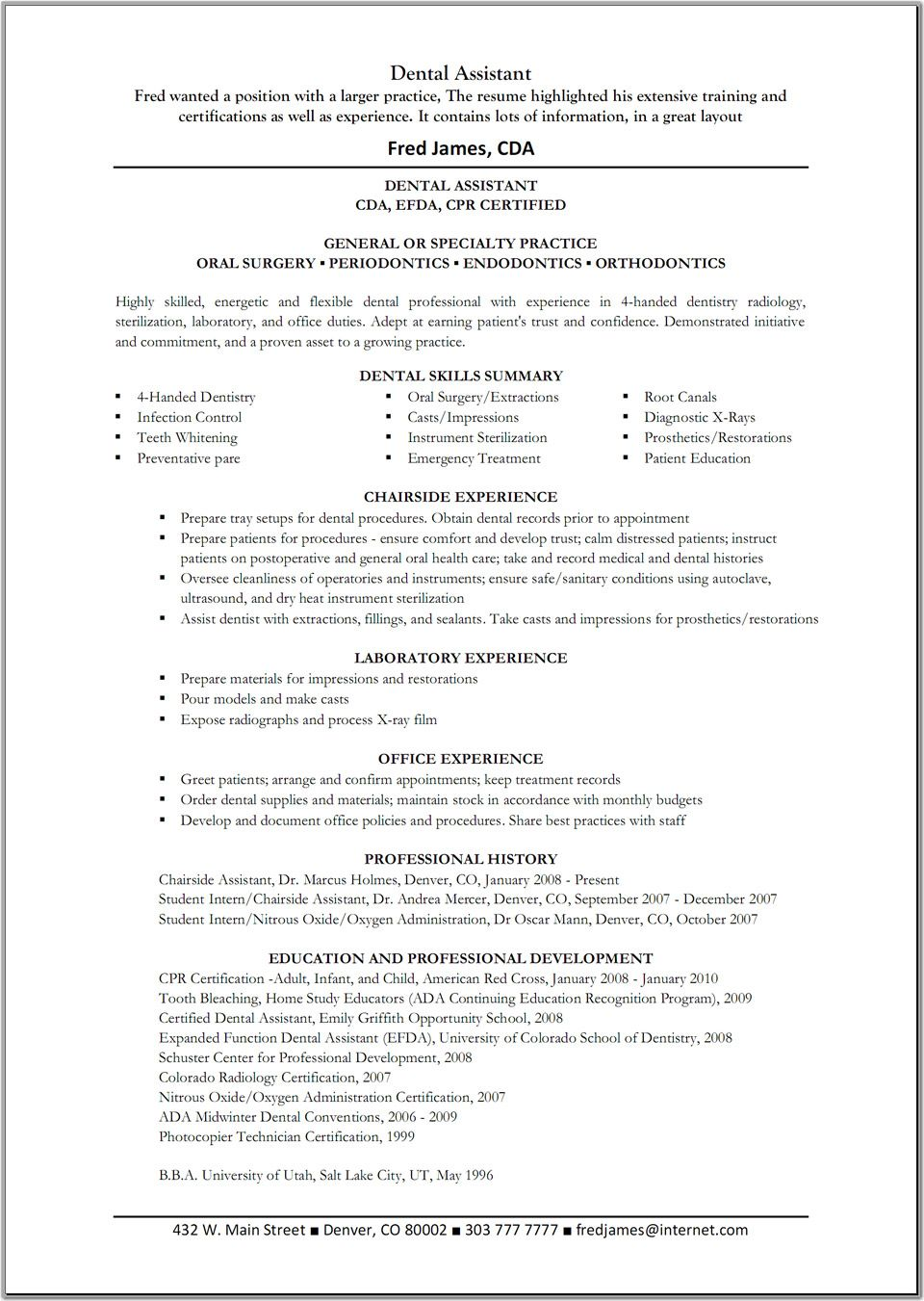 Dental Assistant Resume Template Great Resume Templates Dental