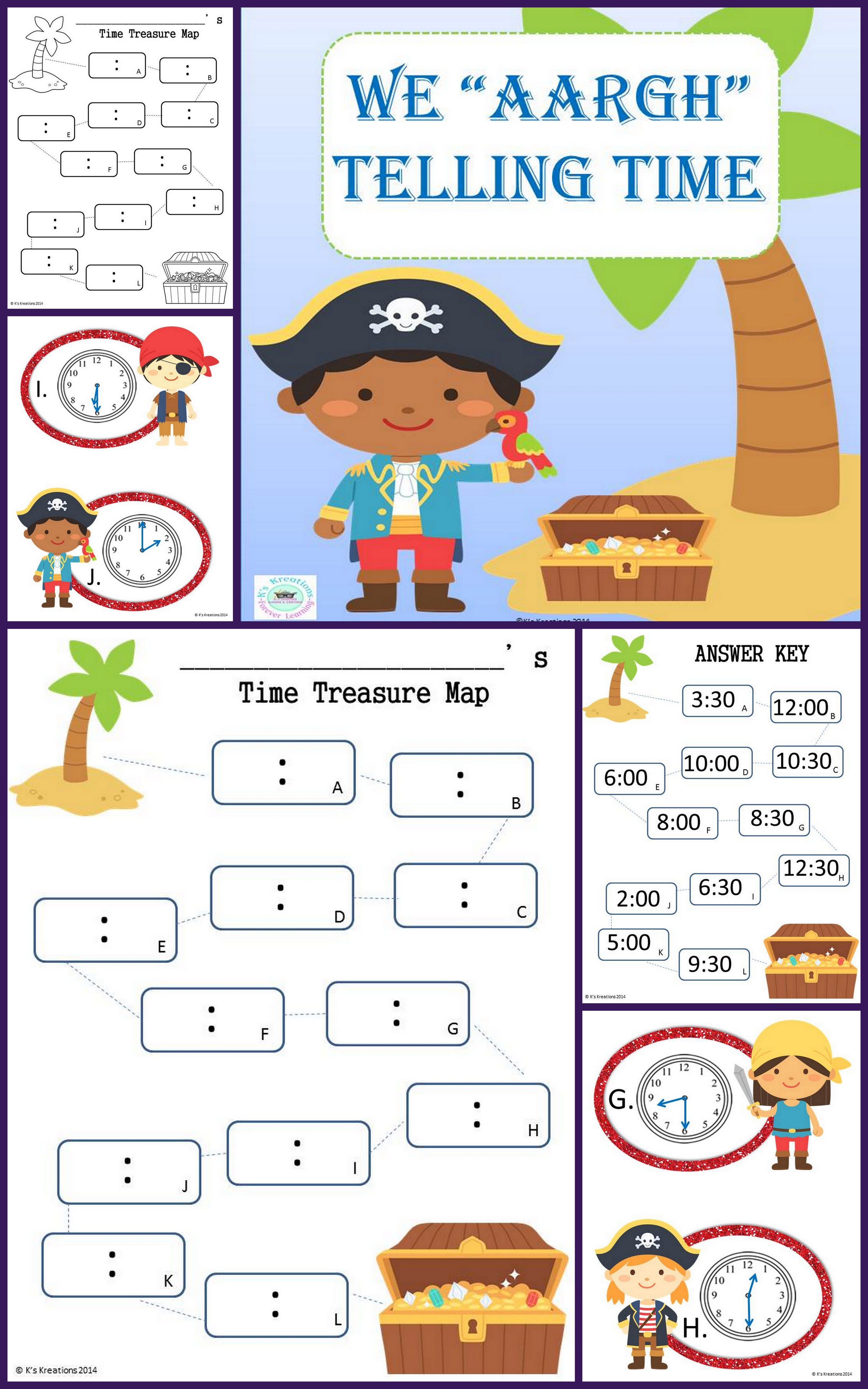 1 3 Pirate Telling Time Game
