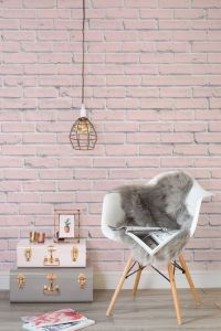 Pink Brick Wallpaper Mural | Rustic chic, Modern living ...