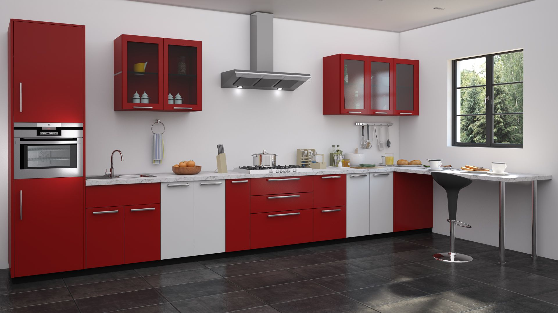 Red and white kitchen designs  Straight kitchen designs