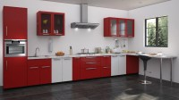Red and white kitchen designs | Straight kitchen designs ...