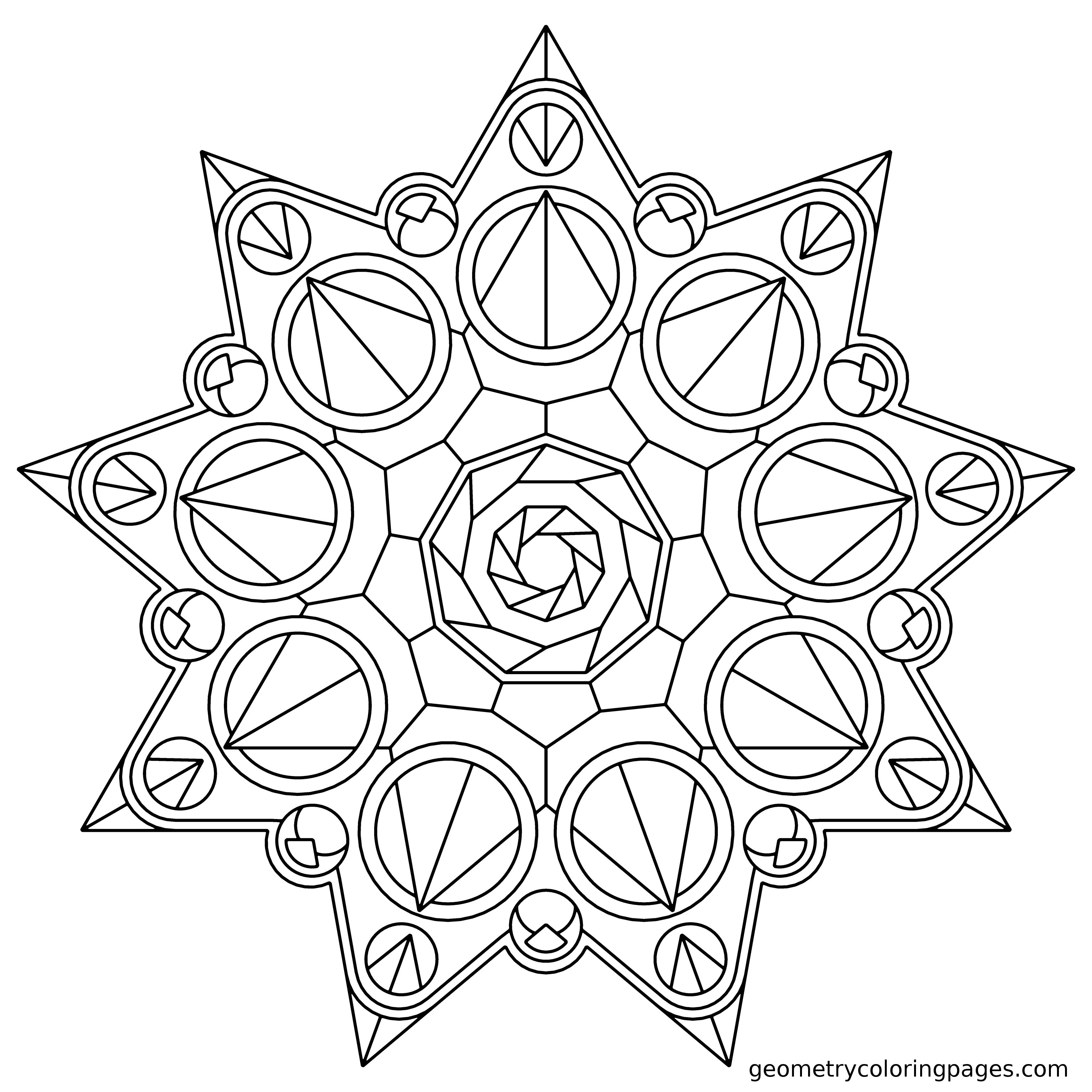 Mandala Coloring Page, Crown Star from