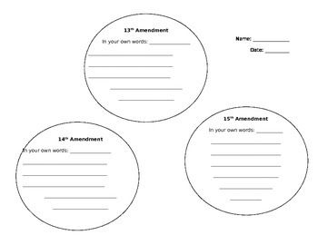 This worksheet allows students to describe the amendments
